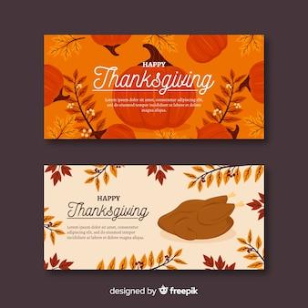 Kolorowy wzór banerów na święto dziękczynienia
