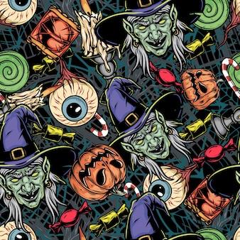Kolorowy wzór elementów halloween w stylu vintage z przerażającymi głowami czarownic