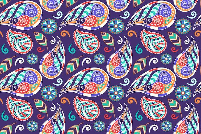 Kolorowy wzór etniczny paisley