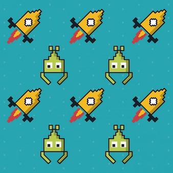 Kolorowy wzór gry obcych i rakiet
