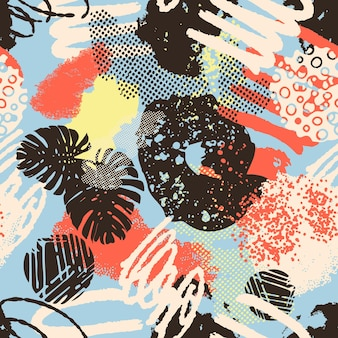 Kolorowy wzór kolażu nagłówka w tle o różnych kształtach i teksturach