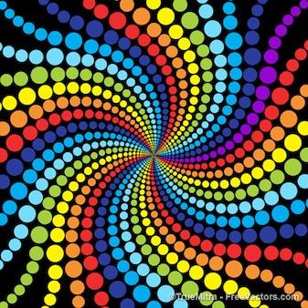 Kolorowy wzór kropki w kształcie wirować