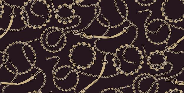 Kolorowy wzór łańcuchów na ciemnym tle. idealny do druku na tkaninie.