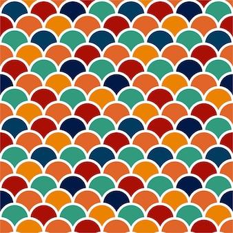 Kolorowy wzór łusek fis do wyłożenia kafelkami o płaskiej konstrukcji.