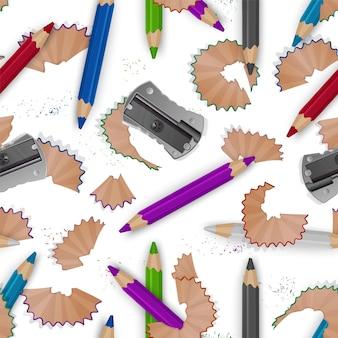 Kolorowy wzór na temat szkoły z kolorowymi kredkami, wiórkami ołówkowymi i realistyczną temperówką.