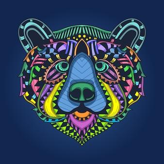 Kolorowy wzór niedźwiedzia głowy