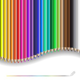 Kolorowy wzór ołówka. tło z kolorowymi kredkami