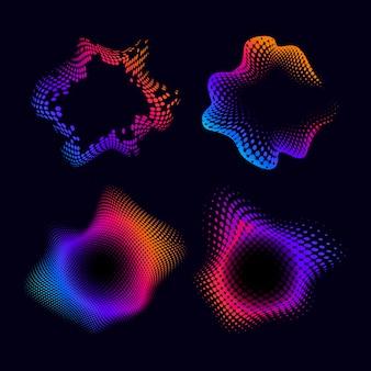 Kolorowy wzór półtonów znaczek na czarny wektor zestaw