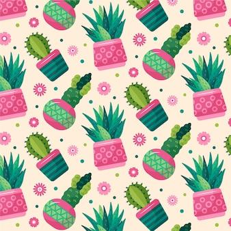 Kolorowy wzór różnych kaktusów