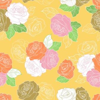 Kolorowy wzór róży bez szwu na żółtym tle