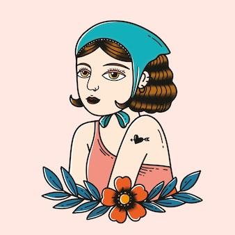 Kolorowy wzór tatuażu retro dziewczyna z pastelowym tłem
