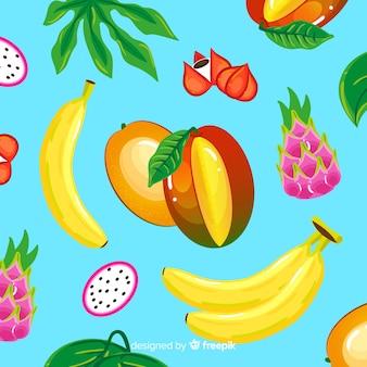 Kolorowy wzór tropikalnych owoców