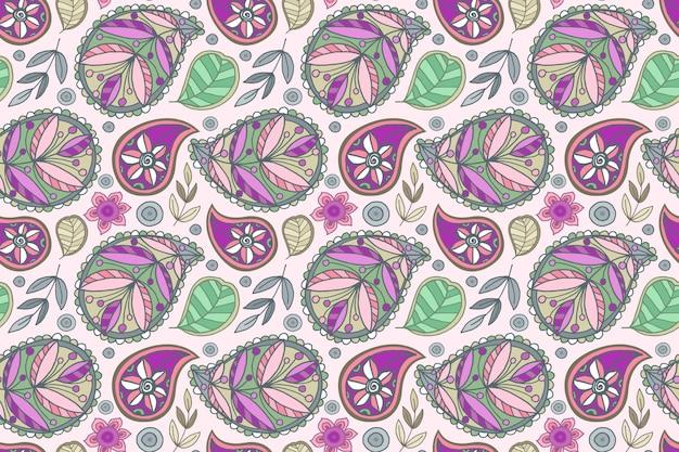 Kolorowy wzór w stylu etnicznym paisley