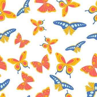 Kolorowy wzór wydruku bez szwu z motylami. wzorzysta tapeta do scrapbookingu. ilustracja.