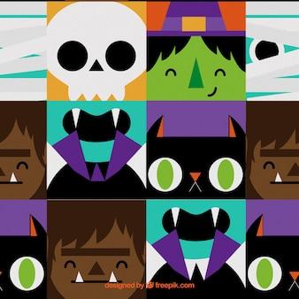 Kolorowy wzór z halloween potwory twarze