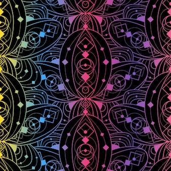 Kolorowy wzór z kwiatami lotosu