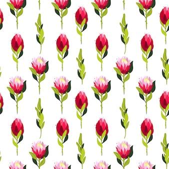 Kolorowy wzór z kwiatami protea.