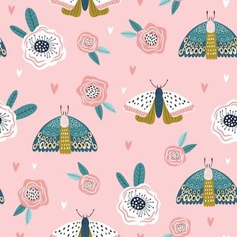 Kolorowy wzór z motyle i kwiaty.