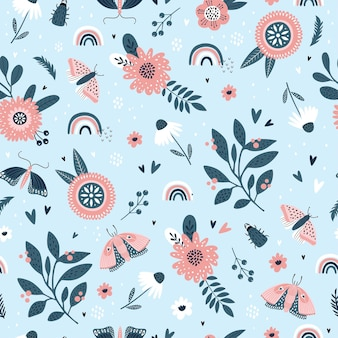 Kolorowy wzór z owadów, kwiatów i tęczy.