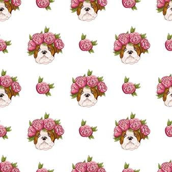 Kolorowy wzór z psami i kwiatami. na białym tle.