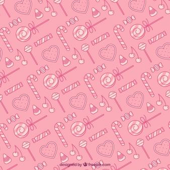 Kolorowy wzór z pysznymi cukierkami