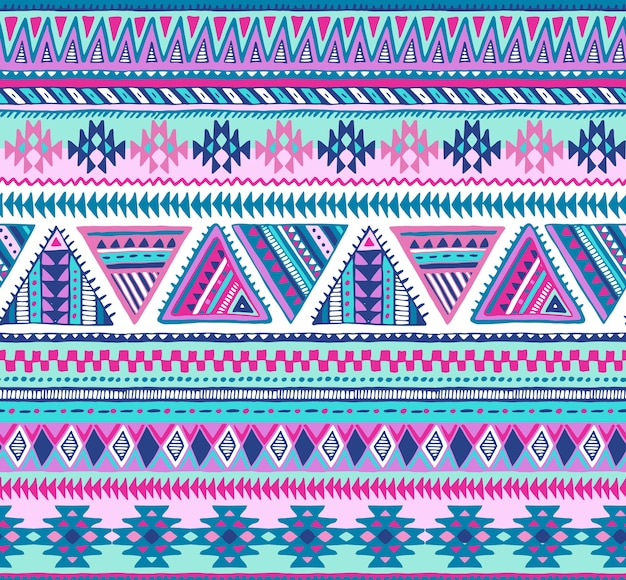Kolorowy wzór z ręcznie rysowane elementy etniczne