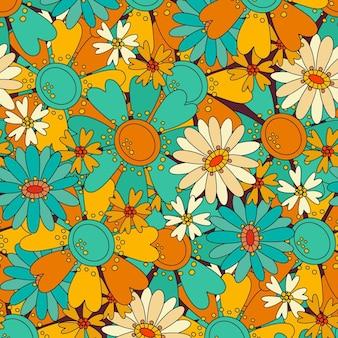 Kolorowy wzór z różnymi pięknymi kwiatami