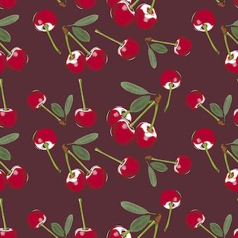 Kolorowy wzór z wiśniami w stylu vintage