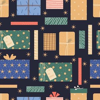 Kolorowy wzór z zapakowanymi prezentami. prezenty świąteczne