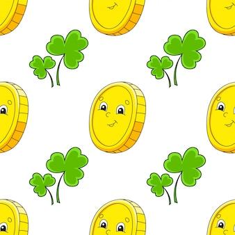 Kolorowy wzór. złota moneta. dzień świętego patryka.