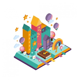 Kolorowy zamek. ilustracja izometryczna
