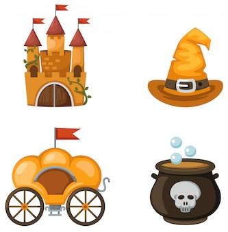 Kolorowy zamek, powóz, kapelusz czarownicy, kocioł czarownic