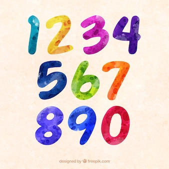 Kolorowy zbiór liczb akwarela