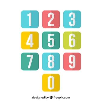 Kolorowy zbiór liczb z płaskiej konstrukcji