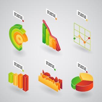 Kolorowy zbiór wykresów analitycznych 3d, wykresów słupkowych i kołowych dla infografik zorientowanych pod kątem ilustracji wektorowych