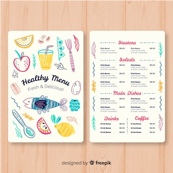 Kolorowy zdrowy menu szablon