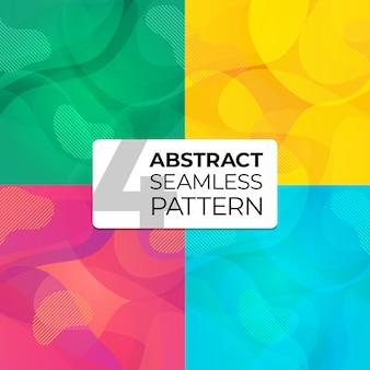 Kolorowy zestaw abstrakcyjnych wzorów bez szwu na tle witryny, pocztówka, tapeta, tekstylia, odzież. bezszwowe tło. ilustracja z abstrakcyjnymi falami.