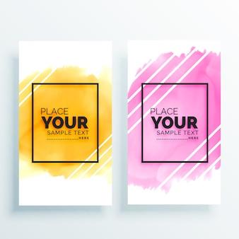 Kolorowy zestaw akwarela banery