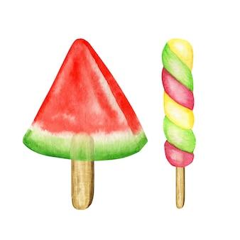 Kolorowy zestaw akwarela lody na patyku. owocowa kolekcja mrożonych popsicles bright color. arbuz, kiwi, wiśnia, banan. koncepcja lato. lody odosobniona ilustracja na białym tle.