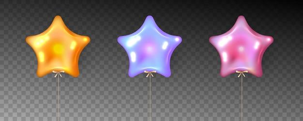 Kolorowy zestaw balonów w kształcie gwiazdy na przezroczystym tle.