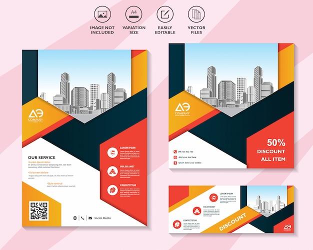 Kolorowy zestaw banerów ulotek lub broszur ze zniżką oferuje marketing w mediach społecznościowych