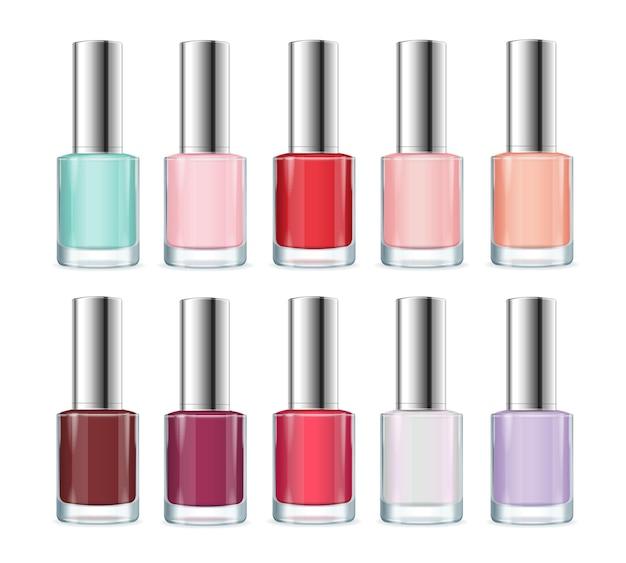 Kolorowy zestaw butelek z lakierem do paznokci. modne kolory.