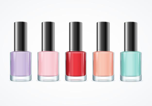 Kolorowy zestaw butelek z lakierem do paznokci. różne kolory.