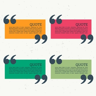 Kolorowy zestaw czterech cudzysłowie