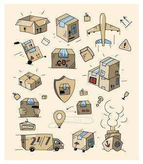 Kolorowy zestaw dostaw doodle zarys kolekcji logistyki ręcznie rysowane elementy transportu
