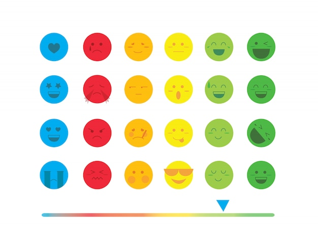 Kolorowy zestaw emotikon linii