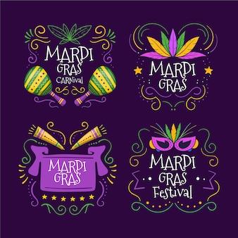 Kolorowy zestaw etykiet mardi gras