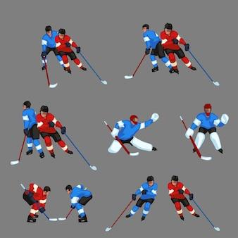 Kolorowy zestaw hokeja