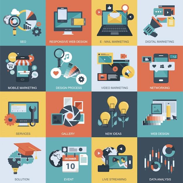 Kolorowy zestaw ikon dla aplikacji mobilnych i stron internetowych