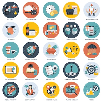Kolorowy zestaw ikon dla biznesu, technologii, finansów, edukacji